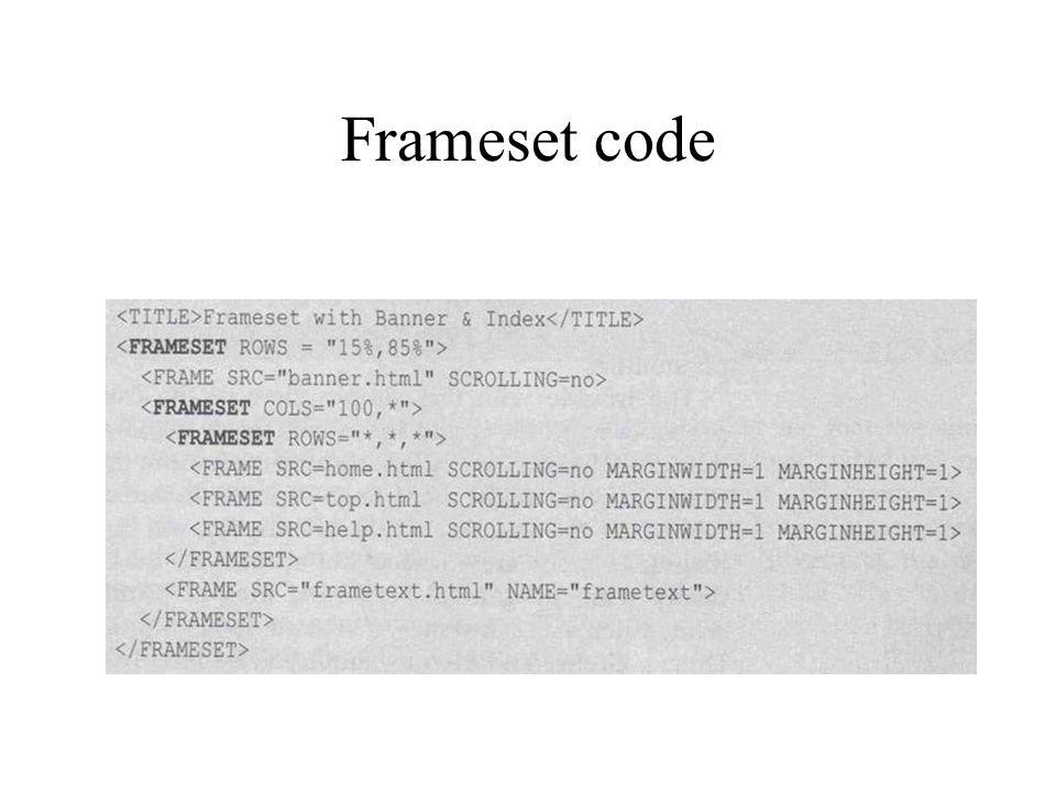 Frameset code