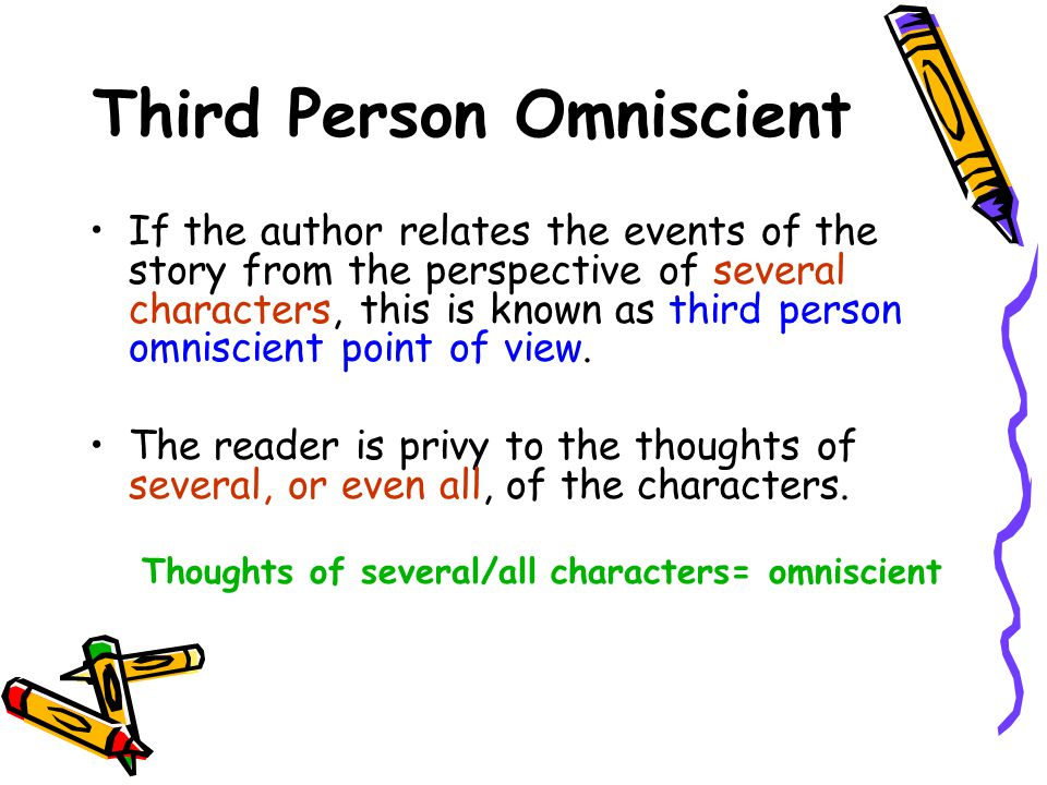 Third Person Omniscient If the author relates the events of the story from the perspective of several characters, this is known as third person omniscient point of view.