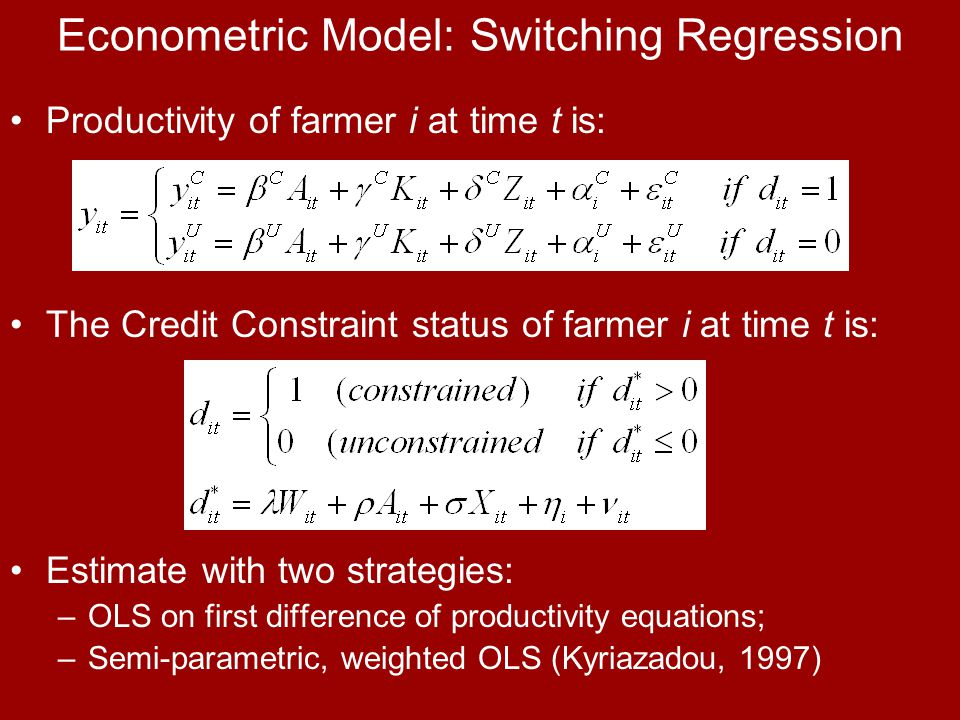 Econometric Model: Switching Regression Productivity of farmer i at time t is: The Credit Constraint status of farmer i at time t is: Estimate with two strategies: –OLS on first difference of productivity equations; –Semi-parametric, weighted OLS (Kyriazadou, 1997)