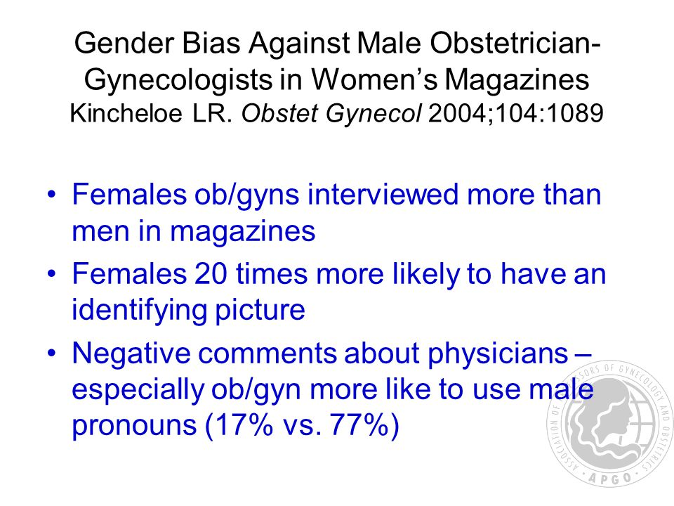 Gender Bias Against Male Obstetrician- Gynecologists in Women's Magazines Kincheloe LR. Obstet Gynecol 2004;104:1089 Females ob/gyns interviewed more