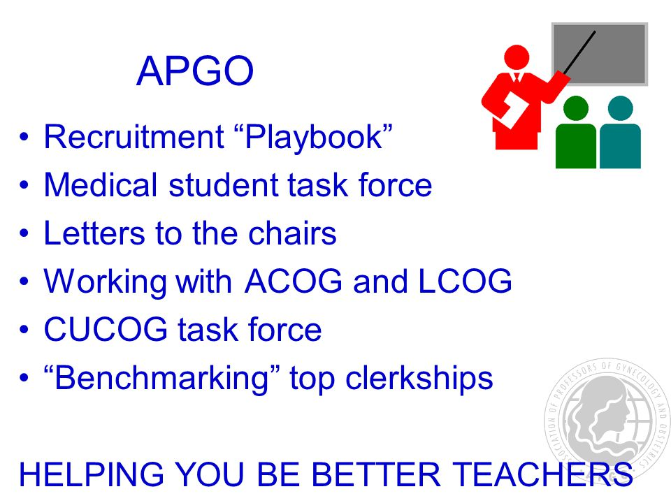 APGO Recruitment Playbook Medical student task force Letters to the chairs Working with ACOG and LCOG CUCOG task force Benchmarking top clerkships HELPING YOU BE BETTER TEACHERS