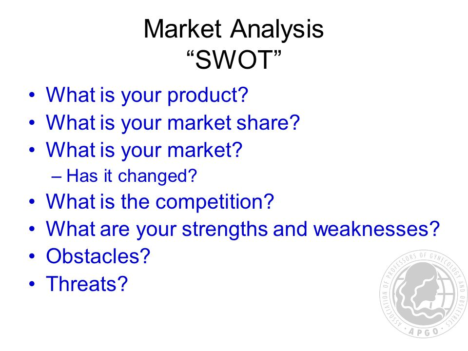 Market Analysis SWOT What is your product. What is your market share.