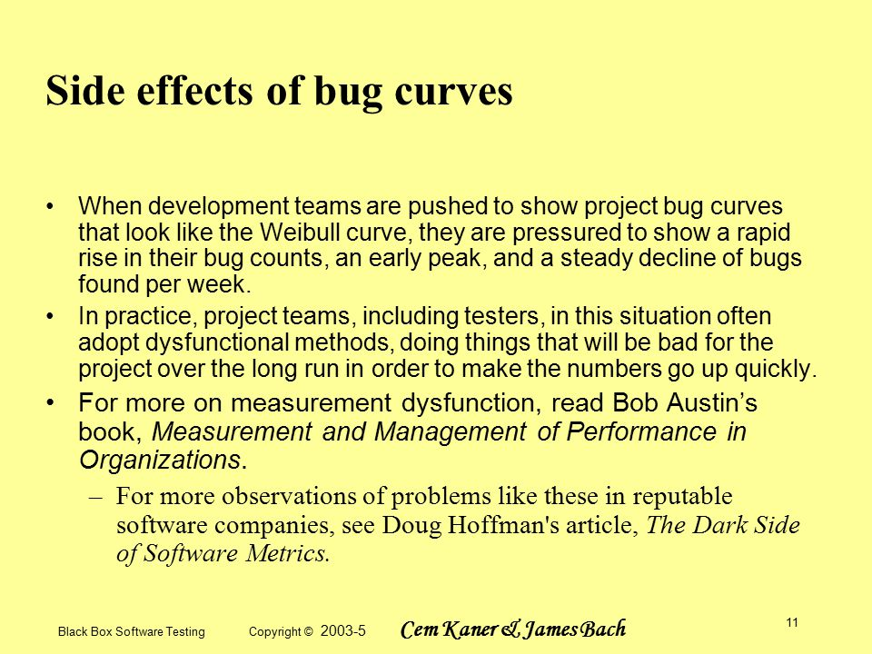 Black Box Software Testing Copyright © 2003-5 Cem Kaner & James Bach 11 Side effects of bug curves When development teams are pushed to show project bug curves that look like the Weibull curve, they are pressured to show a rapid rise in their bug counts, an early peak, and a steady decline of bugs found per week.
