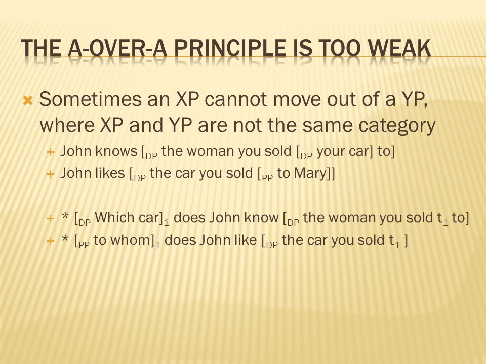  Sometimes an XP cannot move out of a YP, where XP and YP are not the same category  John knows [ DP the woman you sold [ DP your car] to]  John li