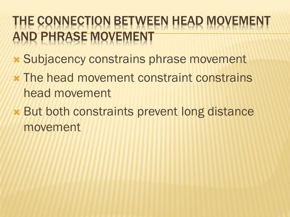 Subjacency constrains phrase movement  The head movement constraint constrains head movement  But both constraints prevent long distance movement