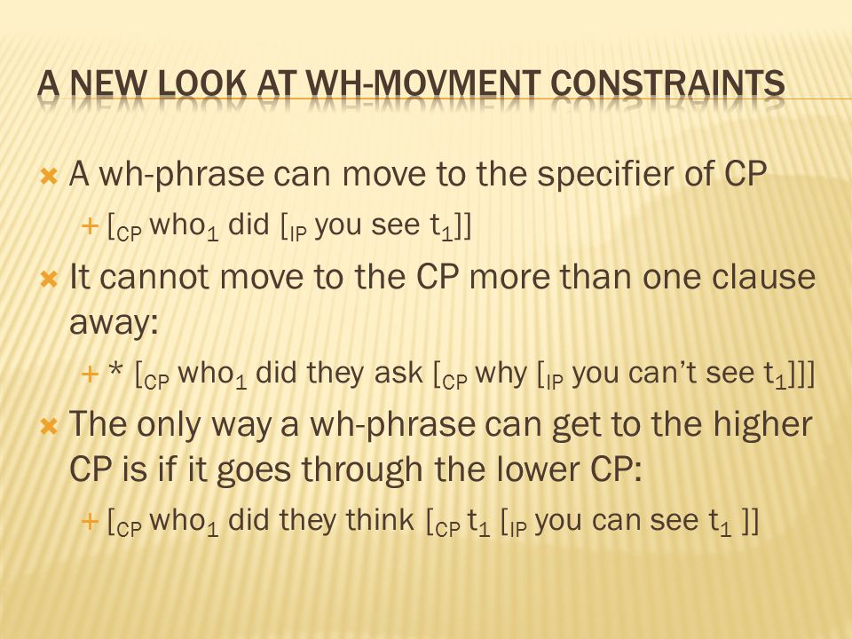  A wh-phrase can move to the specifier of CP  [ CP who 1 did [ IP you see t 1 ]]  It cannot move to the CP more than one clause away:  * [ CP who 1 did they ask [ CP why [ IP you can't see t 1 ]]]  The only way a wh-phrase can get to the higher CP is if it goes through the lower CP:  [ CP who 1 did they think [ CP t 1 [ IP you can see t 1 ]]