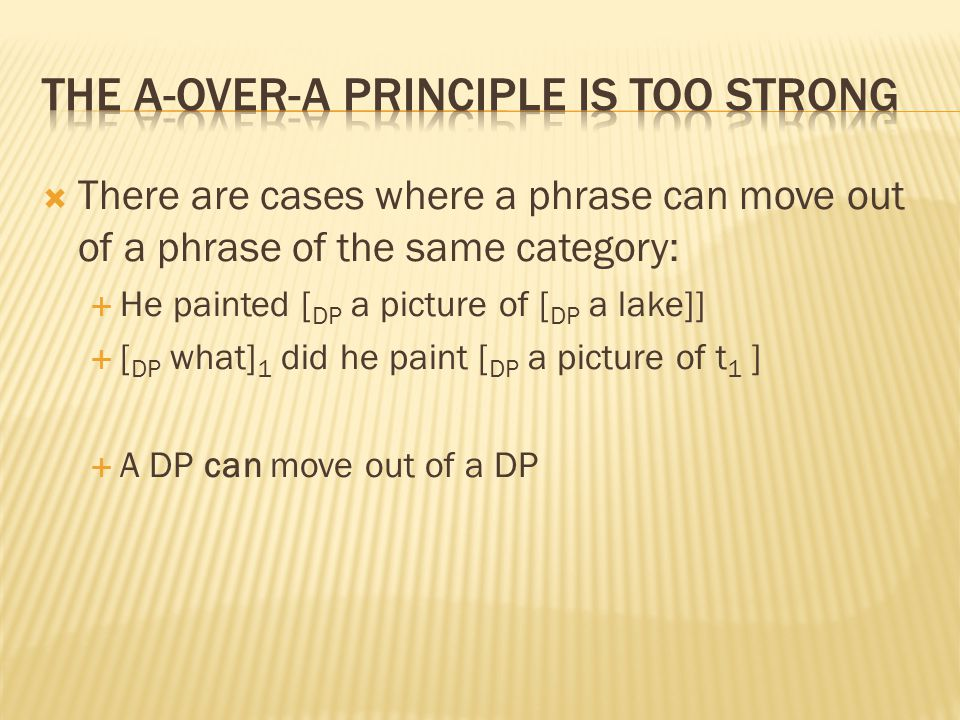  There are cases where a phrase can move out of a phrase of the same category:  He painted [ DP a picture of [ DP a lake]]  [ DP what] 1 did he paint [ DP a picture of t 1 ]  A DP can move out of a DP