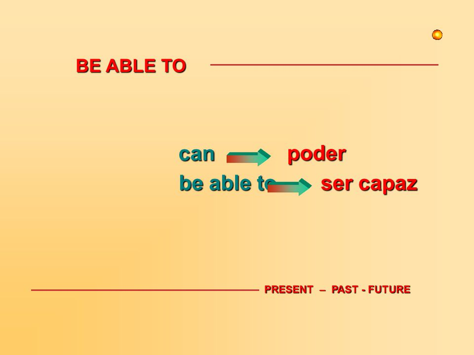 BE ABLE TO can be able to PRESENT – PAST - FUTURE ser capaz poder