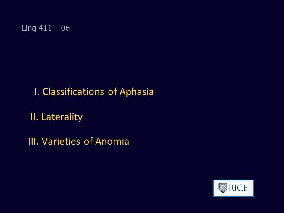 I. Classifications of Aphasia II. Laterality III. Varieties of Anomia Ling 411 – 06