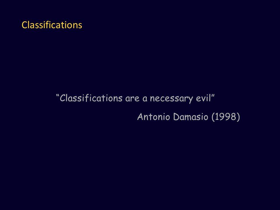 Classifications Classifications are a necessary evil Antonio Damasio (1998)