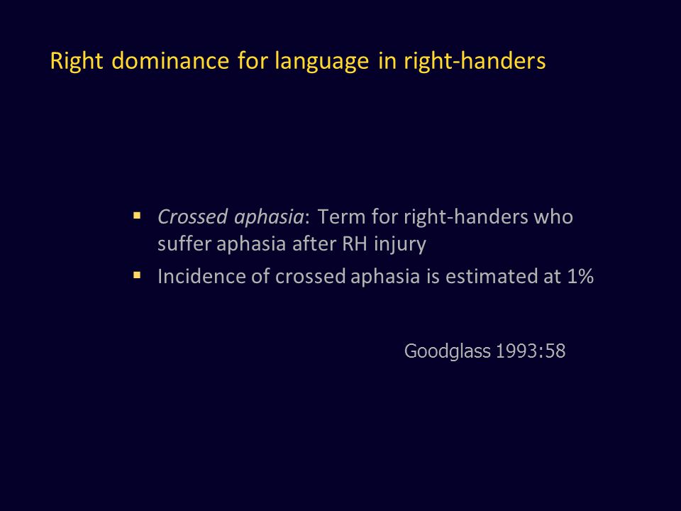 Right dominance for language in right-handers  Crossed aphasia: Term for right-handers who suffer aphasia after RH injury  Incidence of crossed aphasia is estimated at 1% Goodglass 1993:58