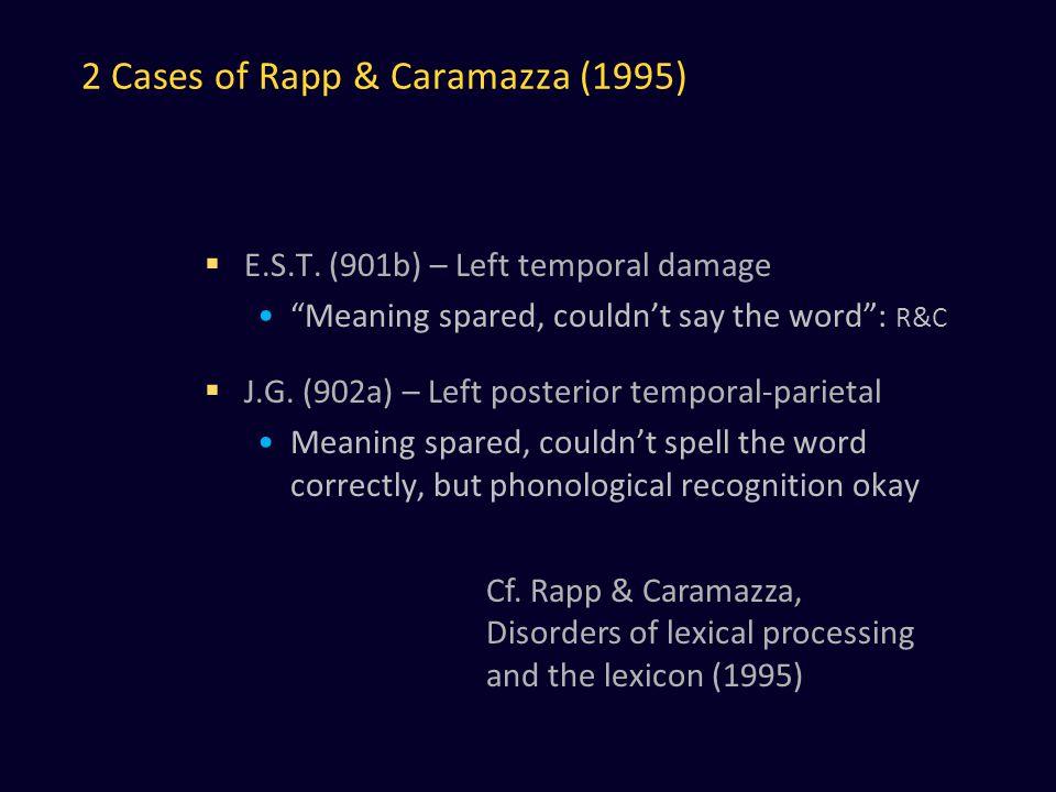 2 Cases of Rapp & Caramazza (1995)  E.S.T.