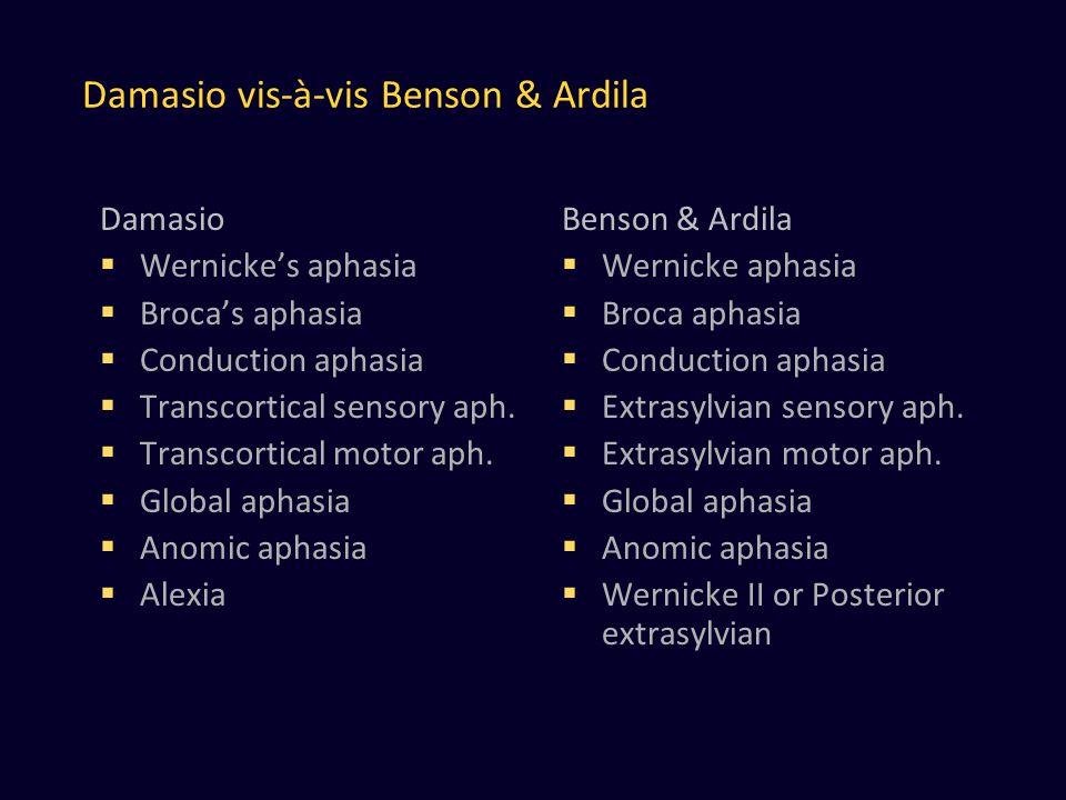 Damasio vis-à-vis Benson & Ardila Damasio  Wernicke's aphasia  Broca's aphasia  Conduction aphasia  Transcortical sensory aph.