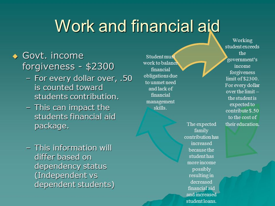 Work and financial aid  Govt. income forgiveness - $2300 –For every dollar over,.50 is counted toward students contribution. –This can impact the stu