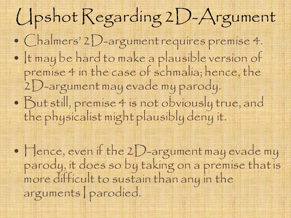 Upshot Regarding 2D-Argument Chalmers' 2D-argument requires premise 4.