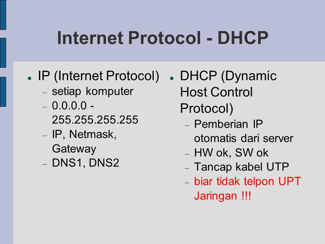 Internet Protocol - DHCP IP (Internet Protocol)  setiap komputer  0.0.0.0 - 255.255.255.255  IP, Netmask, Gateway  DNS1, DNS2 DHCP (Dynamic Host C