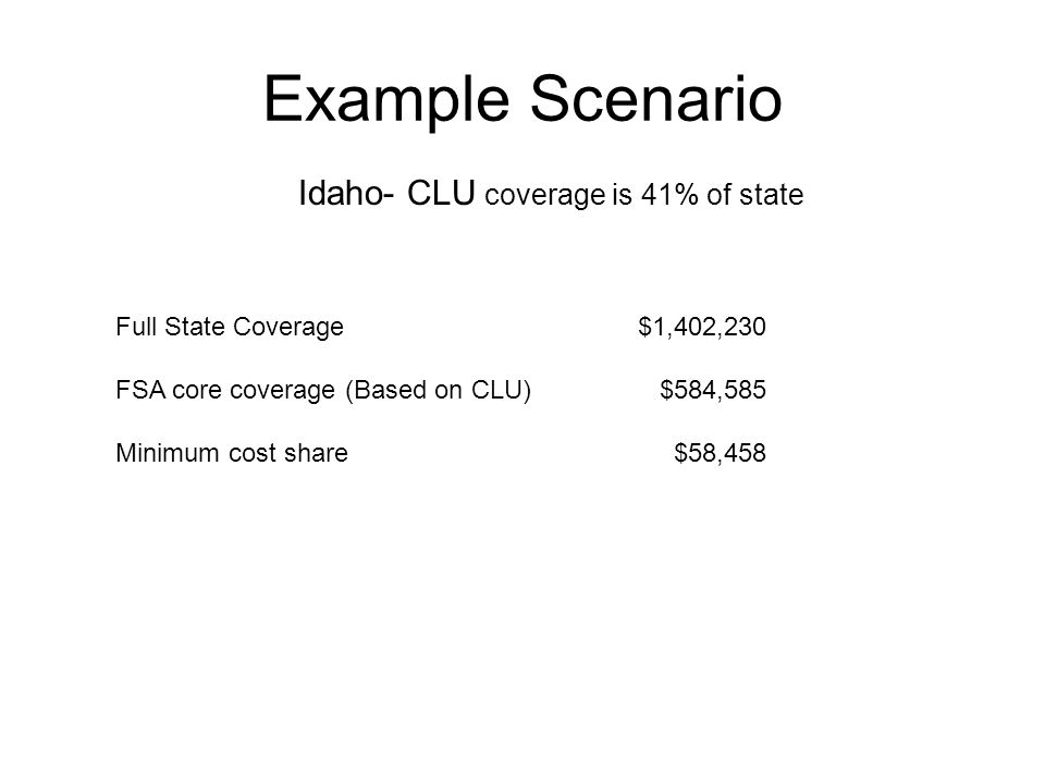 Example Scenario Full State Coverage$1,402,230 FSA core coverage (Based on CLU) $584,585 Minimum cost share $58,458 Idaho- CLU coverage is 41% of state