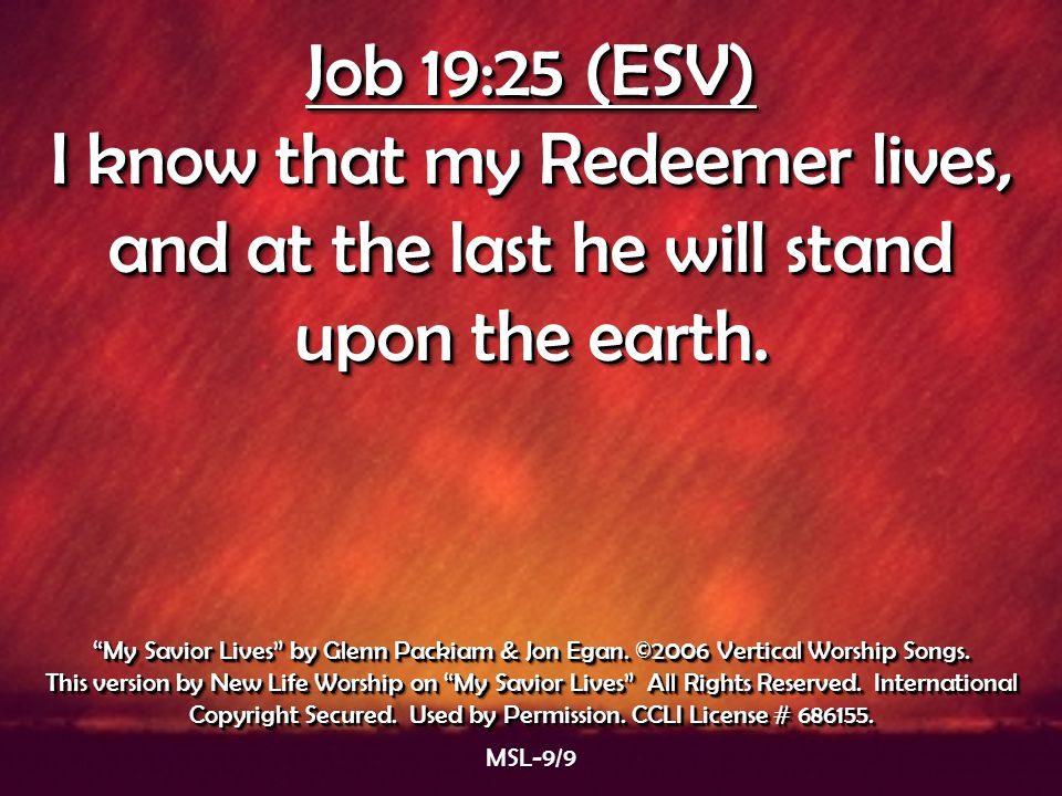 Job 19:25 (ESV) I know that my Redeemer lives, and at the last he will stand upon the earth. Job 19:25 (ESV) I know that my Redeemer lives, and at the