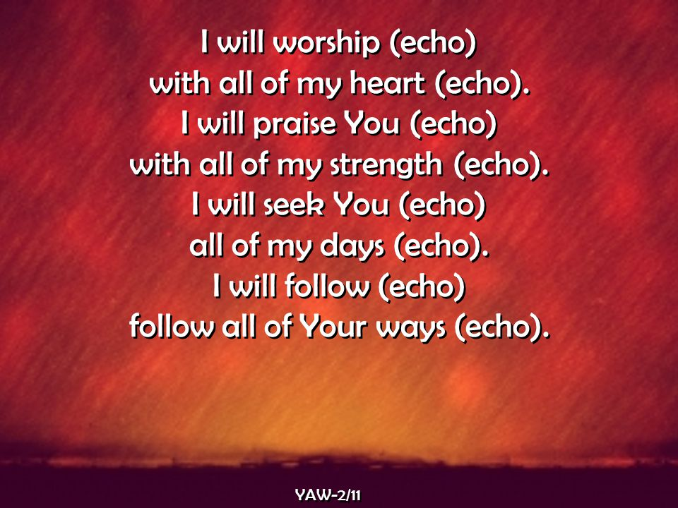 I will worship (echo) with all of my heart (echo). I will praise You (echo) with all of my strength (echo). I will seek You (echo) all of my days (ech