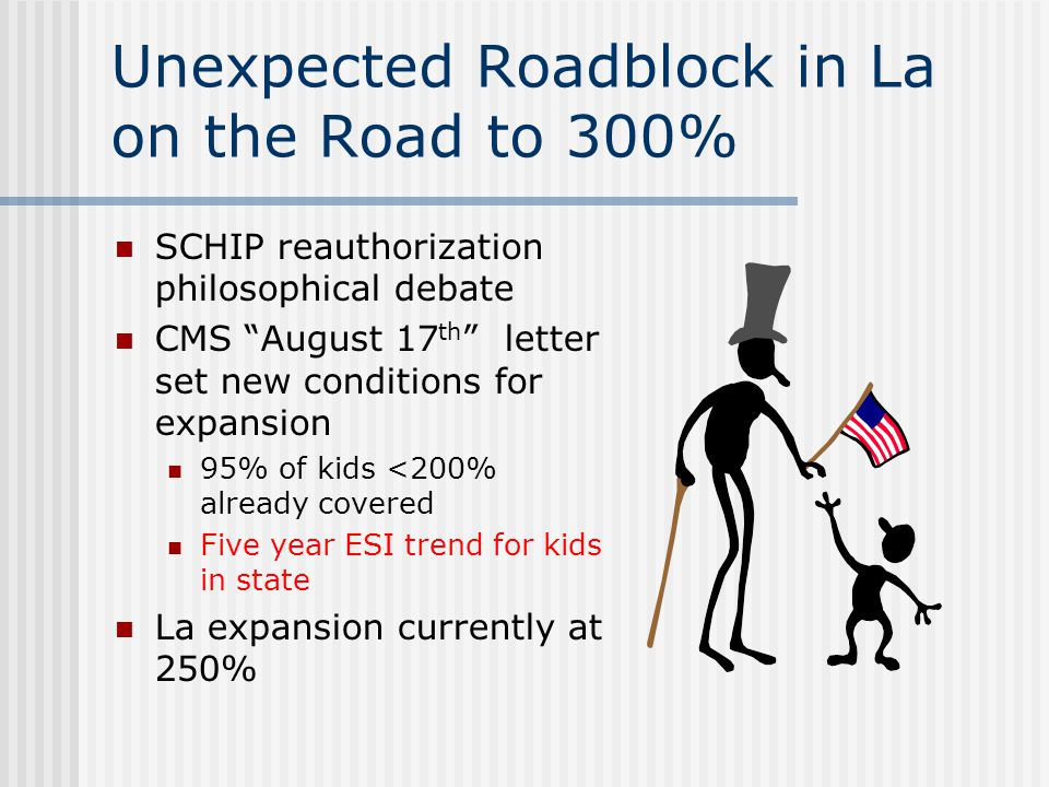 Unexpected Roadblock in La on the Road to 300% SCHIP reauthorization philosophical debate CMS August 17 th letter set new conditions for expansion 95% of kids <200% already covered Five year ESI trend for kids in state La expansion currently at 250%