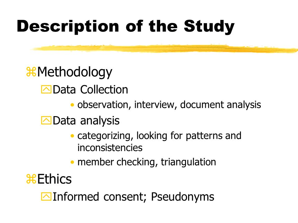 Description of the Study zMethodology yData Collection observation, interview, document analysis yData analysis categorizing, looking for patterns and inconsistencies member checking, triangulation zEthics yInformed consent; Pseudonyms