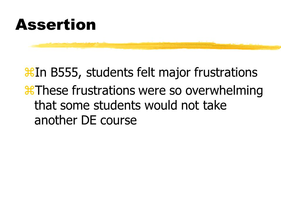 Assertion zIn B555, students felt major frustrations zThese frustrations were so overwhelming that some students would not take another DE course