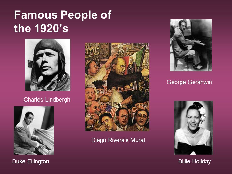 Famous People of the 1920's George Gershwin Billie Holiday Charles Lindbergh Duke Ellington Diego Rivera's Mural