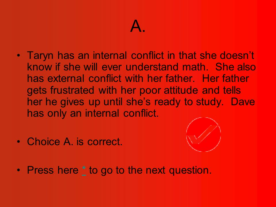 A.Taryn has an internal conflict in that she doesn't know if she will ever understand math.