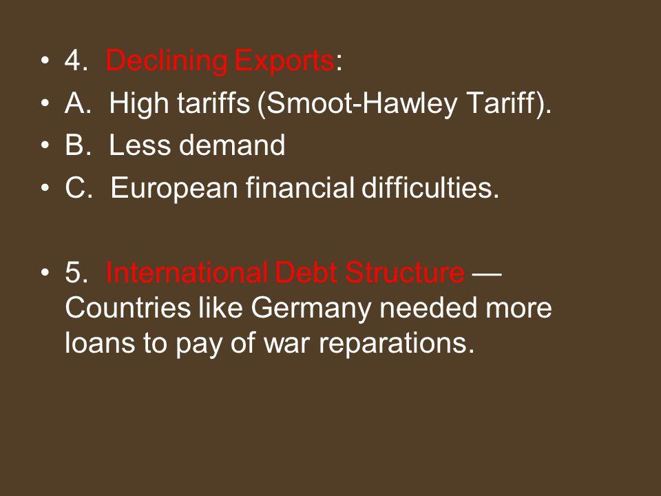 4. Declining Exports: A. High tariffs (Smoot-Hawley Tariff). B. Less demand C. European financial difficulties. 5. International Debt Structure — Coun
