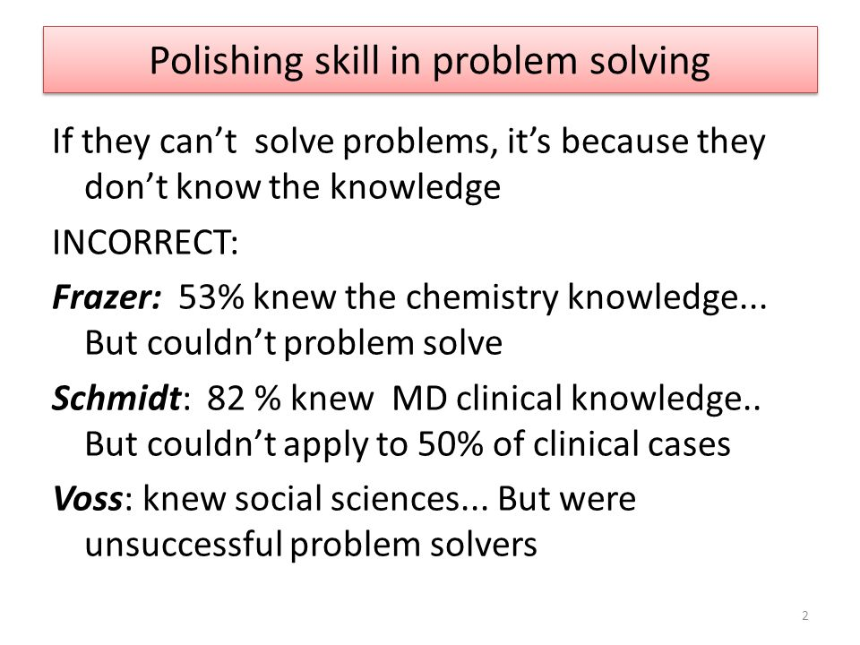 But... Skill in problem solving is needed. What difficulties do students have? Research: 3