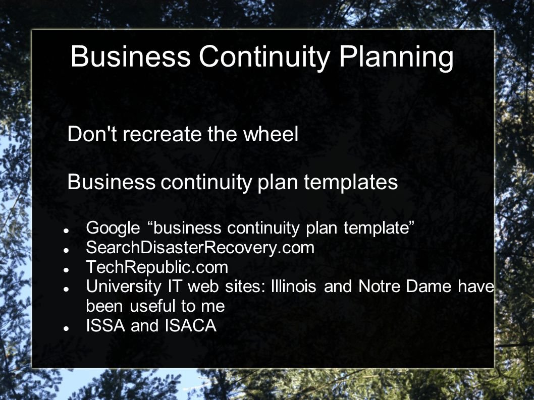 "Business Continuity Planning Don't recreate the wheel Business continuity plan templates Google ""business continuity plan template"" SearchDisasterReco"