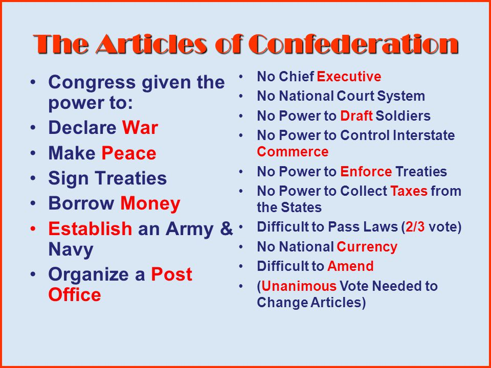The Articles of Confederation Congress was given the power to: America's 1 st Constitution 1781-1789 Difficult to Amend (unanimous vote needed to chan