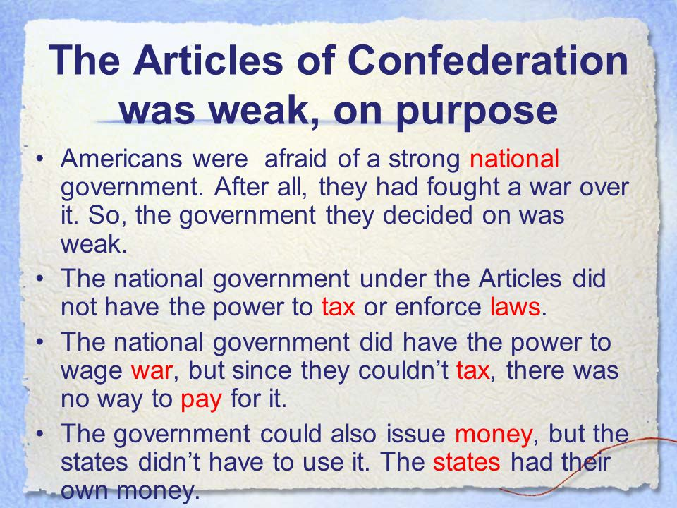 The Articles of Confederation The Articles of Confederation was the name of the first government of the United States. It had been started back in 177