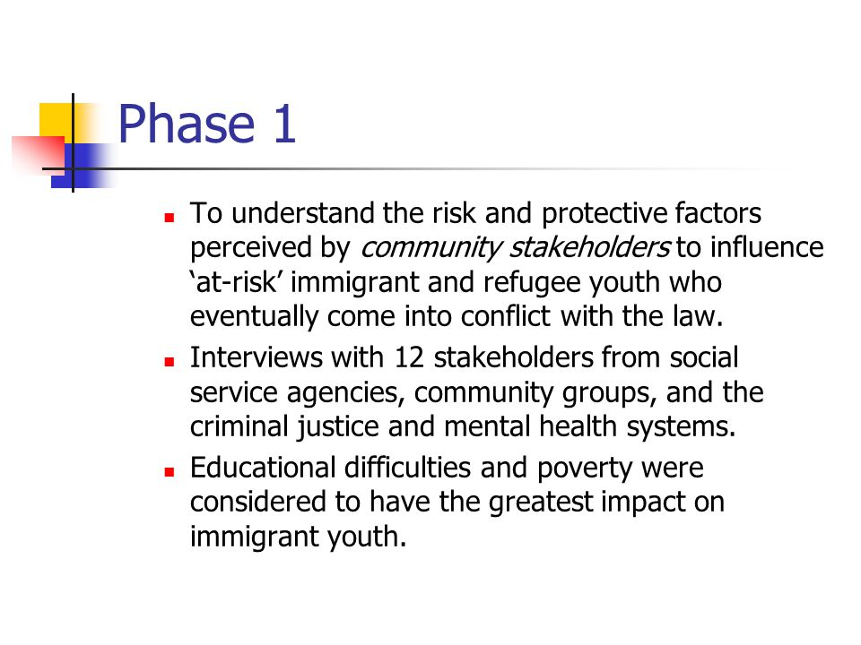 Phase 1 To understand the risk and protective factors perceived by community stakeholders to influence 'at-risk' immigrant and refugee youth who event