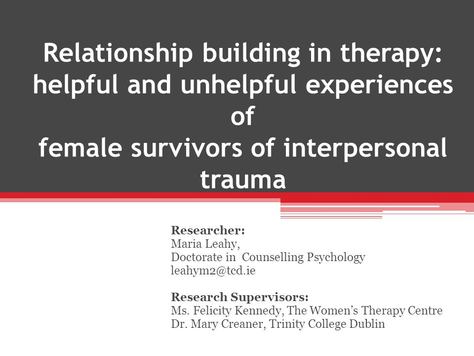  Motivation for participating in the research  Understanding of the therapeutic 'relationship'  Helpful and Unhelpful experiences of therapy (with current and/or previous therapists)  Guiding questions for each of the helpful and unhelpful experiences (IPR – Kagan, 1980) o Could you tell me how did this come about.