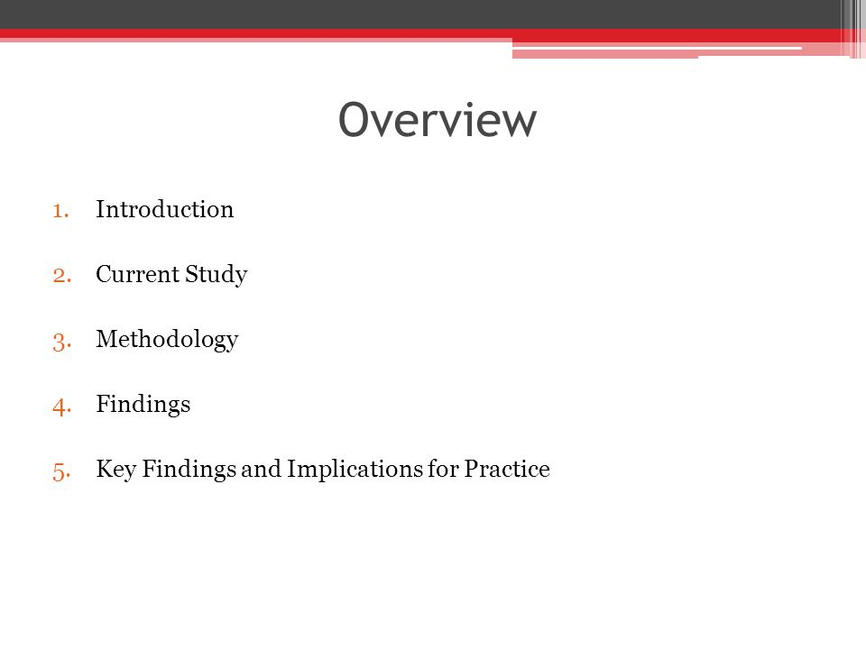 Overview 1.Introduction 2.Current Study 3.Methodology 4.Findings 5.Key Findings and Implications for Practice