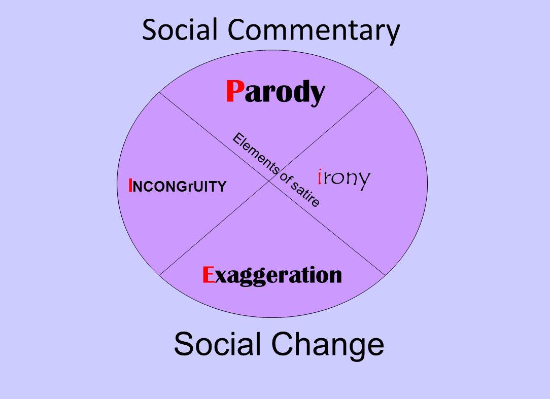 Social Commentary I NCONGrUITY Parody irony Exaggeration Social Change Elements of satire