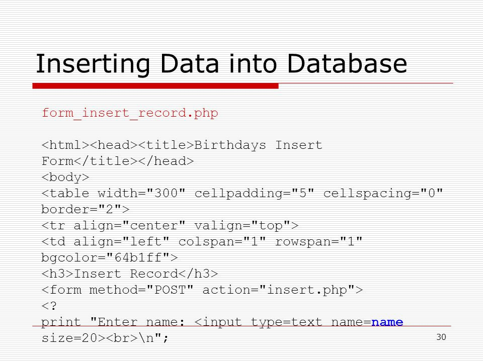 30 Inserting Data into Database form_insert_record.php Birthdays Insert Form Insert Record <.