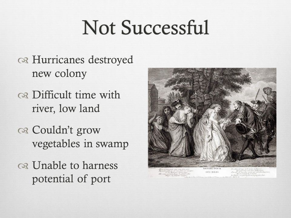 Not SuccessfulNot Successful  Hurricanes destroyed new colony  Difficult time with river, low land  Couldn't grow vegetables in swamp  Unable to h