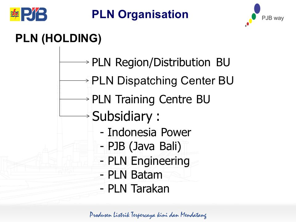 PLN Organisation PLN Region/Distribution BU PLN Training Centre BU Subsidiary : PLN Dispatching Center BU PLN (HOLDING) - PLN Engineering - PLN Batam - PLN Tarakan - Indonesia Power - PJB (Java Bali)