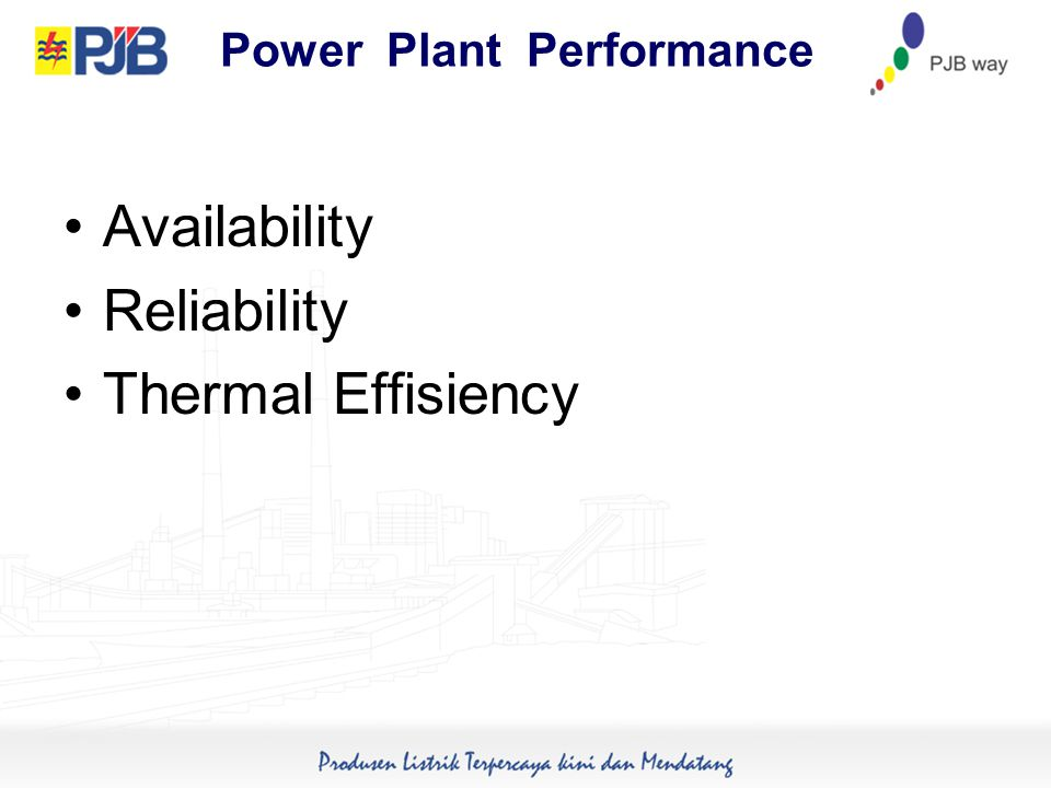 Power Plant Performance Availability Reliability Thermal Effisiency