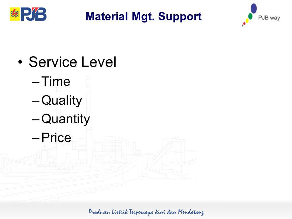 Material Mgt. Support Service Level –Time –Quality –Quantity –Price