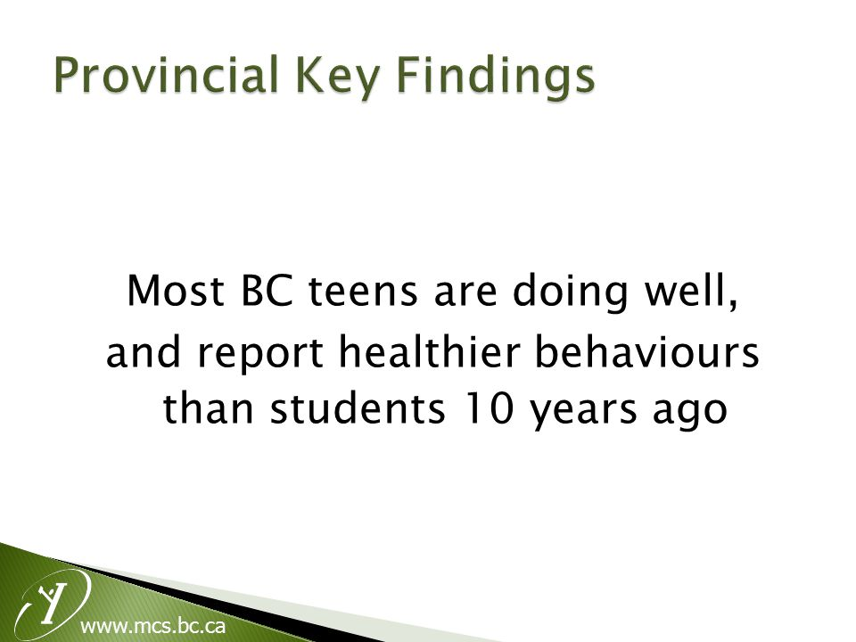 www.mcs.bc.ca Most BC teens are doing well, and report healthier behaviours than students 10 years ago