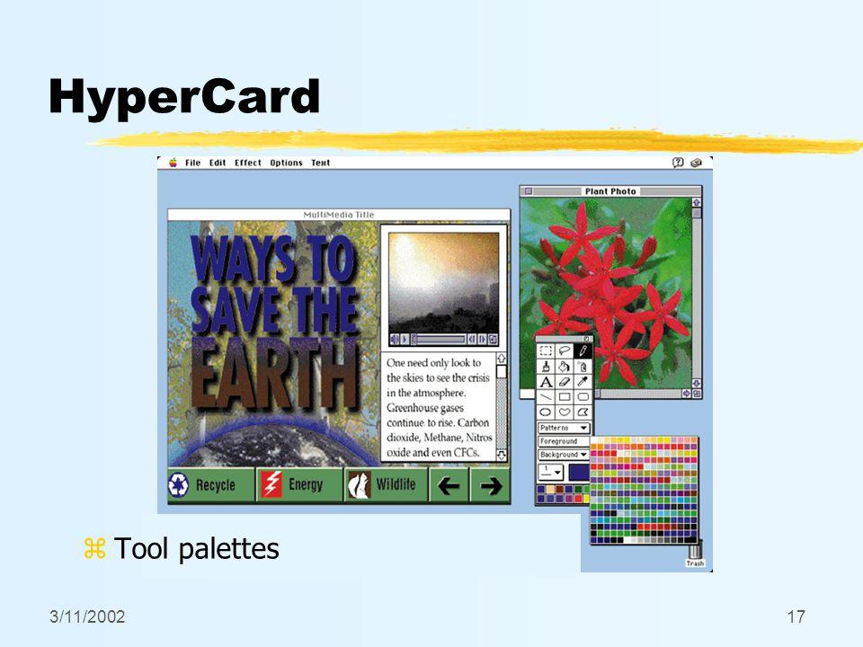 3/11/200217 HyperCard z Tool palettes