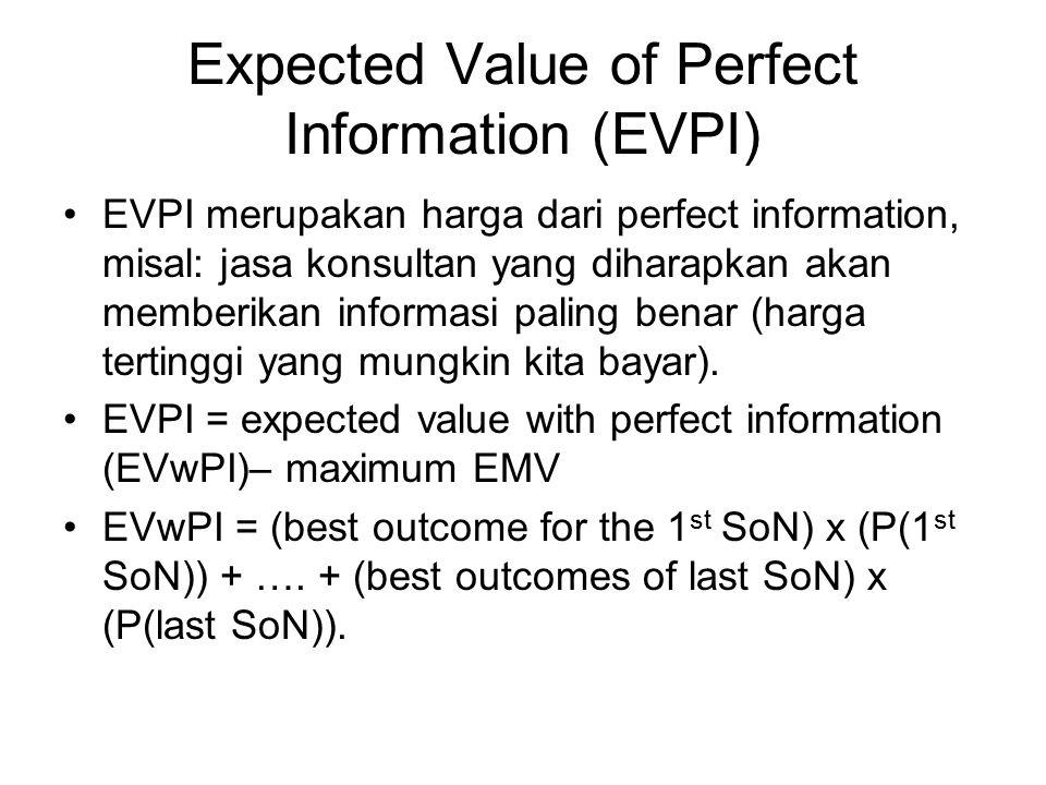 Expected Value of Perfect Information (EVPI) EVPI merupakan harga dari perfect information, misal: jasa konsultan yang diharapkan akan memberikan info