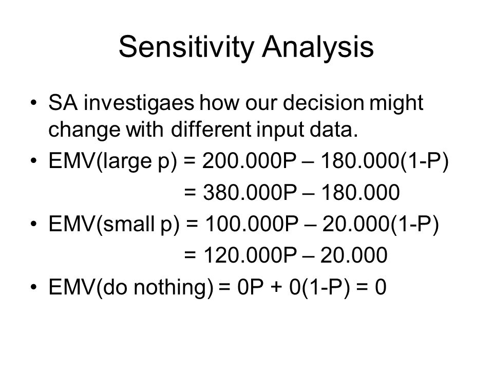 Sensitivity Analysis SA investigaes how our decision might change with different input data. EMV(large p) = 200.000P – 180.000(1-P) = 380.000P – 180.0