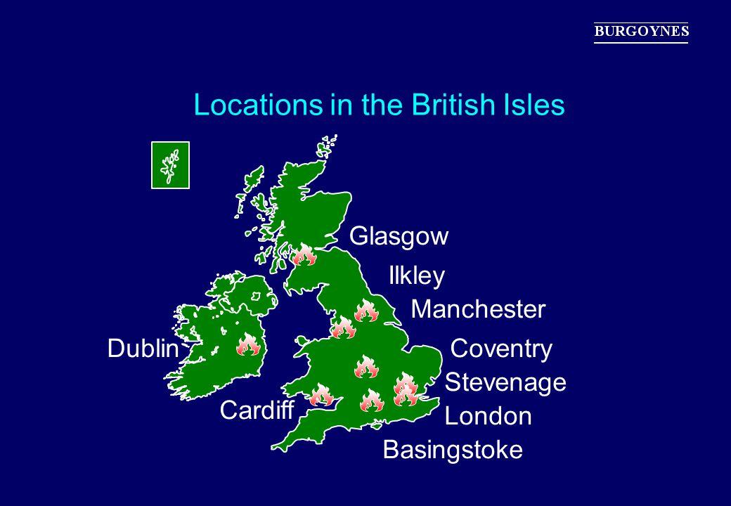 Locations in the British Isles Glasgow London Basingstoke Coventry Ilkley Manchester Stevenage Cardiff Dublin