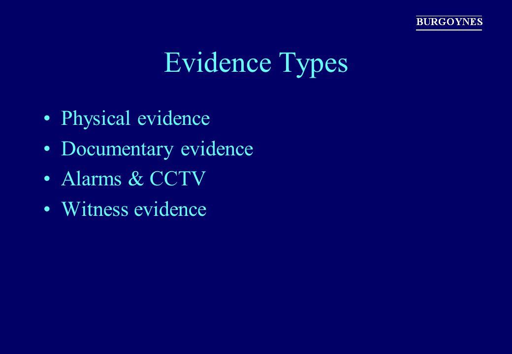 Evidence Types Physical evidence Documentary evidence Alarms & CCTV Witness evidence