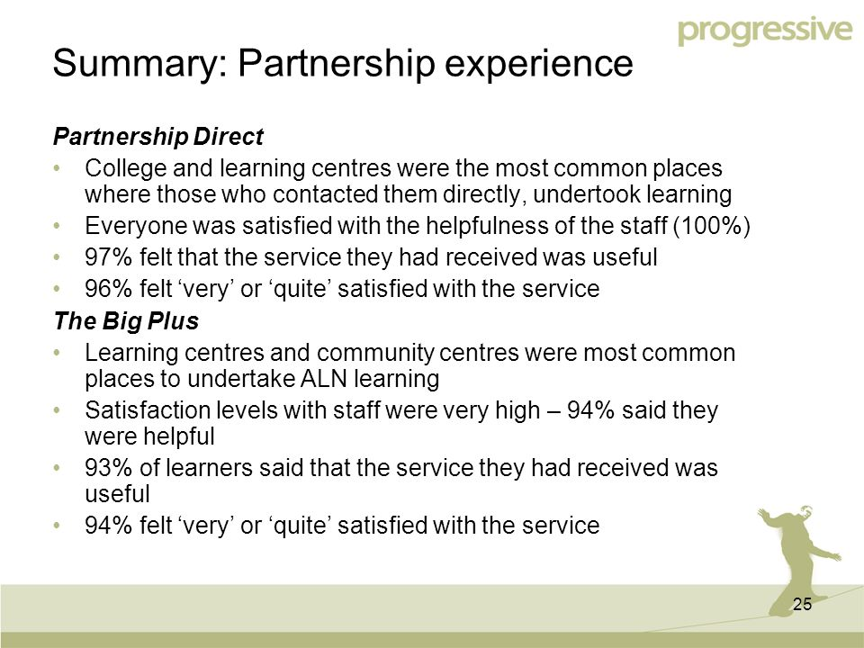 25 Summary: Partnership experience Partnership Direct College and learning centres were the most common places where those who contacted them directly, undertook learning Everyone was satisfied with the helpfulness of the staff (100%) 97% felt that the service they had received was useful 96% felt 'very' or 'quite' satisfied with the service The Big Plus Learning centres and community centres were most common places to undertake ALN learning Satisfaction levels with staff were very high – 94% said they were helpful 93% of learners said that the service they had received was useful 94% felt 'very' or 'quite' satisfied with the service