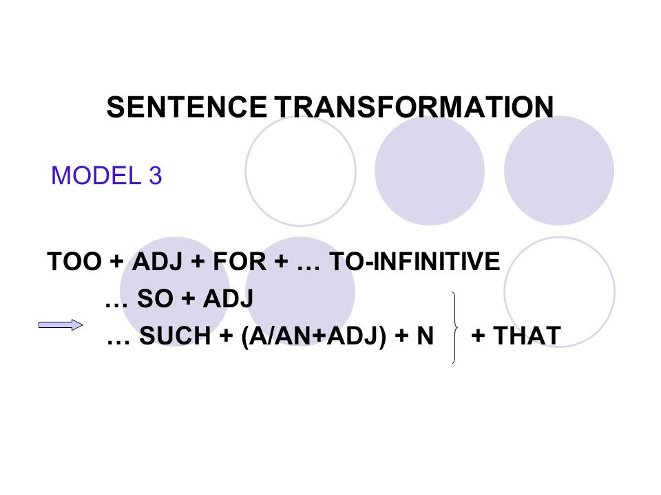 SENTENCE TRANSFORMATION TOO + ADJ + FOR + … TO-INFINITIVE … SO + ADJ … SUCH + (A/AN+ADJ) + N + THAT MODEL 3